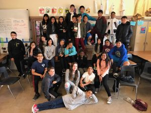 A class of happy kids at James Denman Middle School