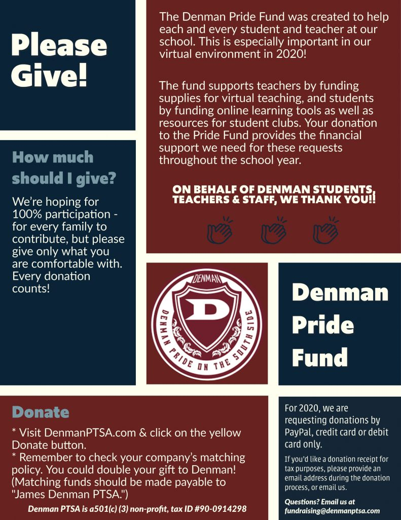 Please Give to the Denman Pride Fund. We're hoping for 100% participation - for every family to contribute, but please give only what you're comfortable with. Every donation counts!